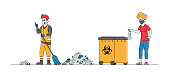 Female Character Throw Covid Waste to Litter Bin with Bio Hazard Symbol. Woman Put Used Medical Mask in Container, Janitor in Respirator Sweeping Rubbish on Street. Linear People Vector Illustration
