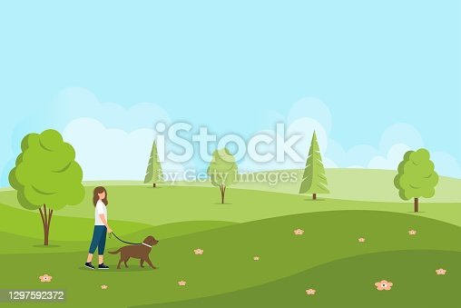 Female character walks the dog. Spring or summer landscape. Walk in nature. Walking the dogs. Vector illustration in a flat style.