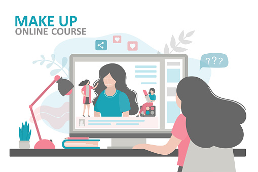 Female character watching makeup tutorial. Woman takes online makeup courses