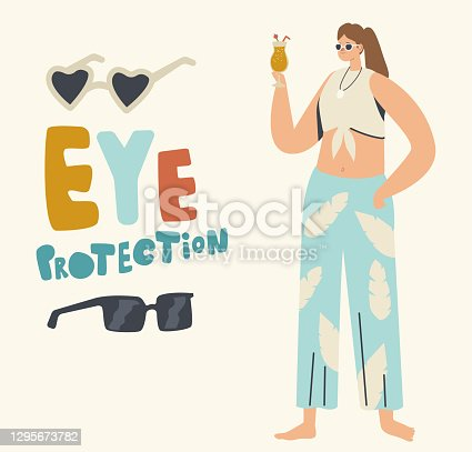 Female Character Wearing Sunglasses for Eye Protection during Summertime Relaxing on Beach. Woman Hold Cocktail Wear Protective Goggles to Save Sight of Ultraviolet Beams. Linear Vector Illustration