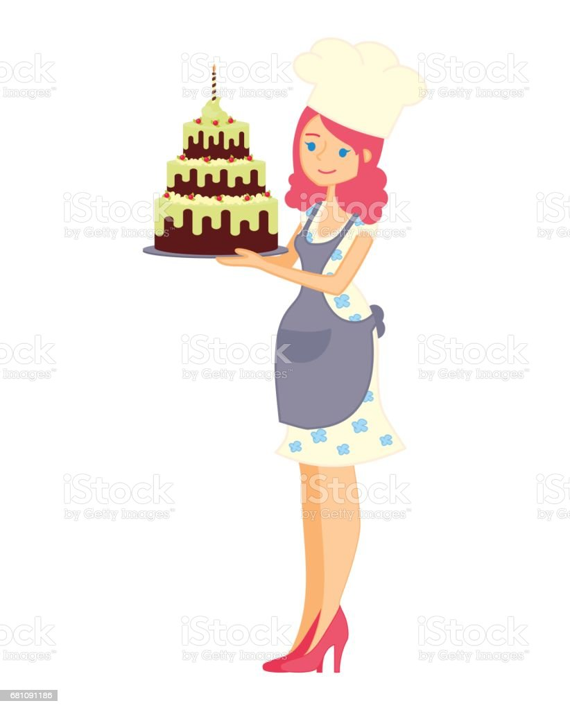 Female character with a cake. Beautiful housewife in dress and apron, woman master baker holding a delicious pie. Vector illustration in a flat style royalty-free female character with a cake beautiful housewife in dress and apron woman master baker holding a delicious pie vector illustration in a flat style stock vector art & more images of adult