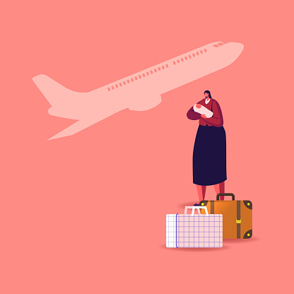 Female Character with Newborn Baby on Hands with Luggage Bags and Flying Airplane on Background. Illegal or Legal Immigrant, Refugee Woman with Child Leaving Country. Cartoon Vector Illustration