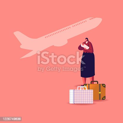 istock Female Character with Newborn Baby on Hands with Luggage Bags and Flying Airplane on Background. Illegal or Legal Immigrant, Refugee Woman with Child Leaving Country. Cartoon Vector Illustration 1226749836