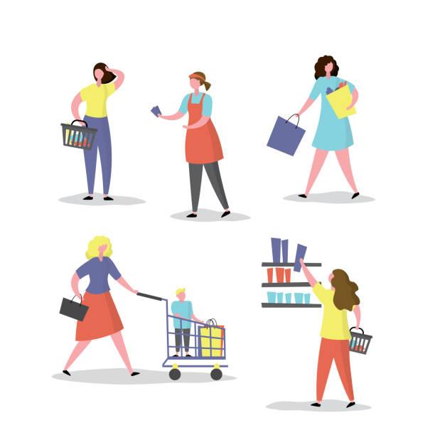 ilustrações de stock, clip art, desenhos animados e ícones de female characters in various poses with shopping bags and cart.set of lady shoppers, - supermarket worker