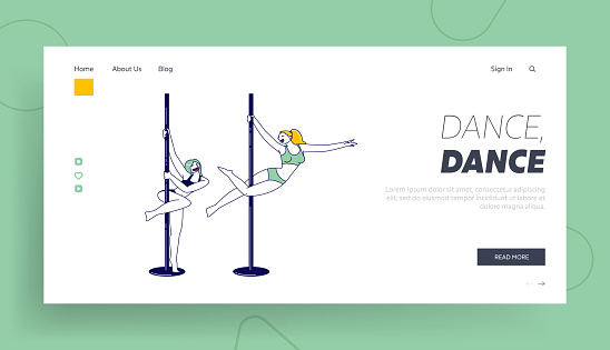 Female Characters Practicing Pole Dance Landing Page Template. Young Girls Pole Dancers Training and Exercising in Studio Training Choreography Elements and Poses. Linear People Vector Illustration