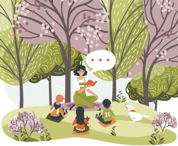 ilustrações de stock, clip art, desenhos animados e ícones de female characters read book, tell story for children, woman, kids, dog sit forest, city park, grass place, vector illustration. - teacher school solo