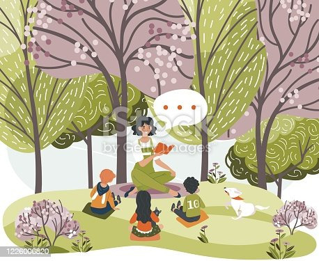 istock Female characters read book, tell story for children, woman, kids, dog sit forest, city park, grass place, vector illustration. 1226006820