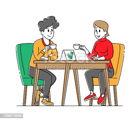 Female Characters Sitting at Disinfected Cafe Table Drinking Coffee with Mask and Sanitizer Bottle Disinfectant
