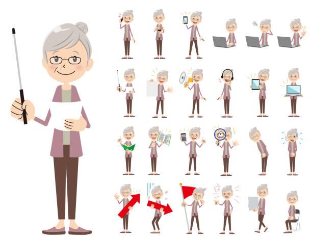ilustrações de stock, clip art, desenhos animados e ícones de female charactor set. presenting in various action. - senior business woman tablet