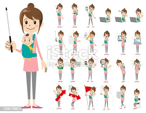 It is a character set of a woman. There are gestures and poses mainly explained. It's vector art so it's easy to edit.