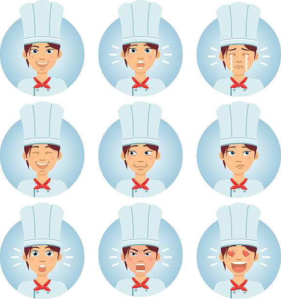 illustrazioni stock, clip art, cartoni animati e icone di tendenza di female chef cook avatars showing different emotions - chef triste