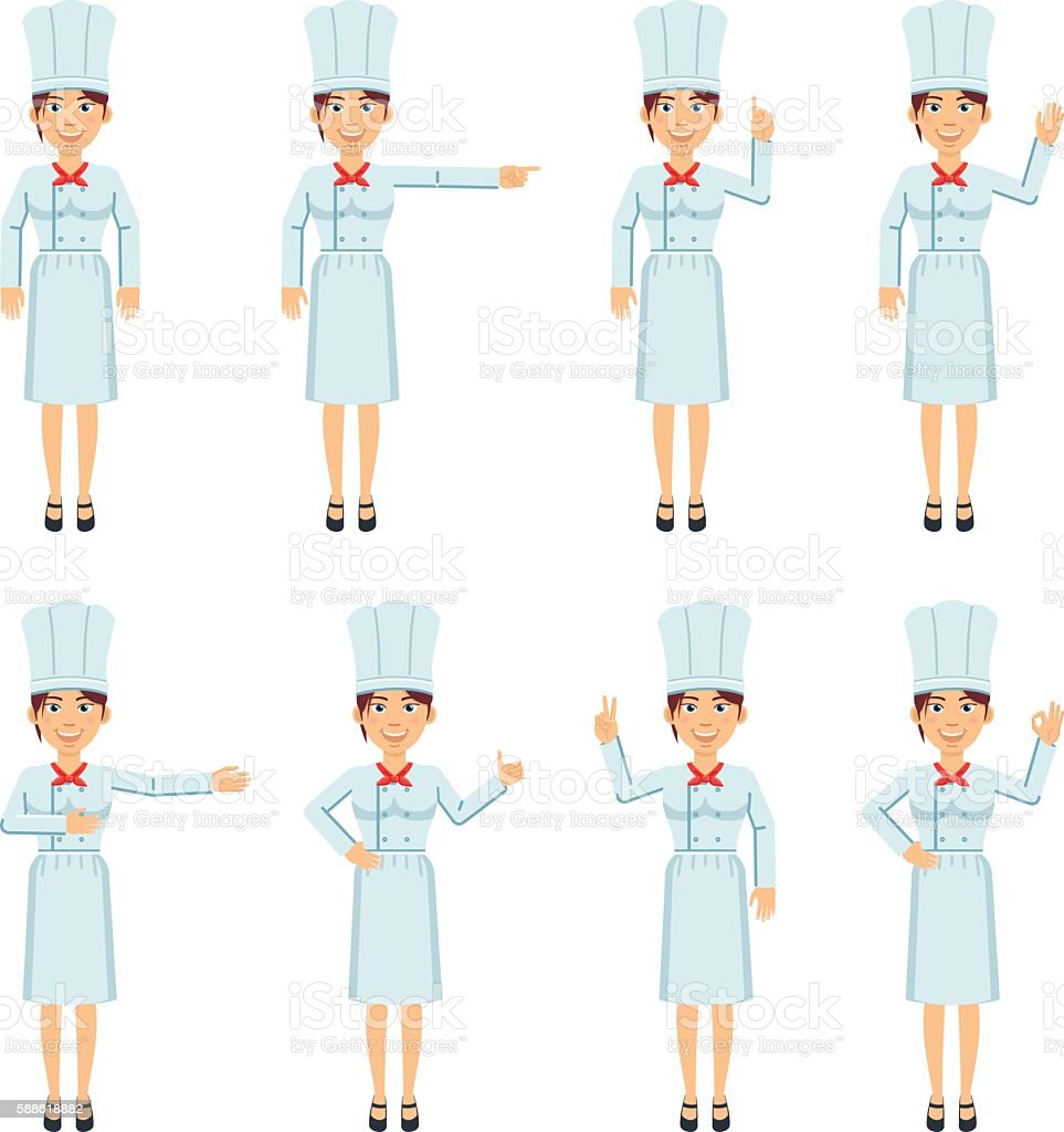 Female chef cook showing different hand gestures vector art illustration
