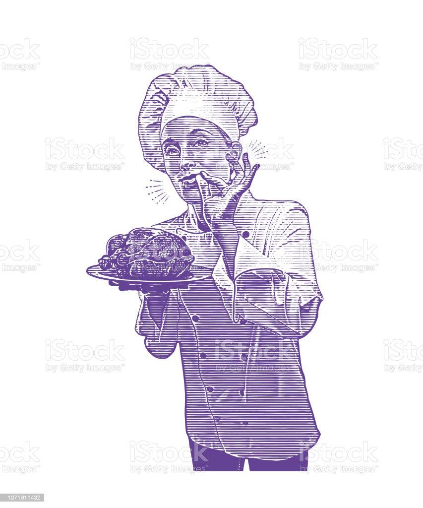 Chef feminino dando sinal de mão okey - ilustração de arte em vetor