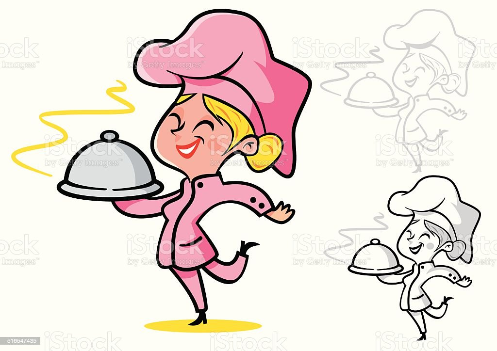 chef mujer rubia con pelo - ilustración de arte vectorial