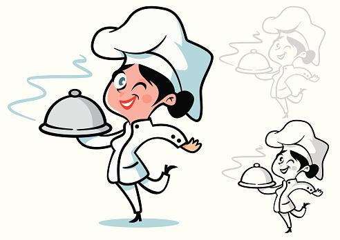 Female chef with dark hair