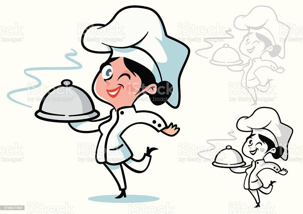 chef mujer con pelo oscuro - ilustración de arte vectorial