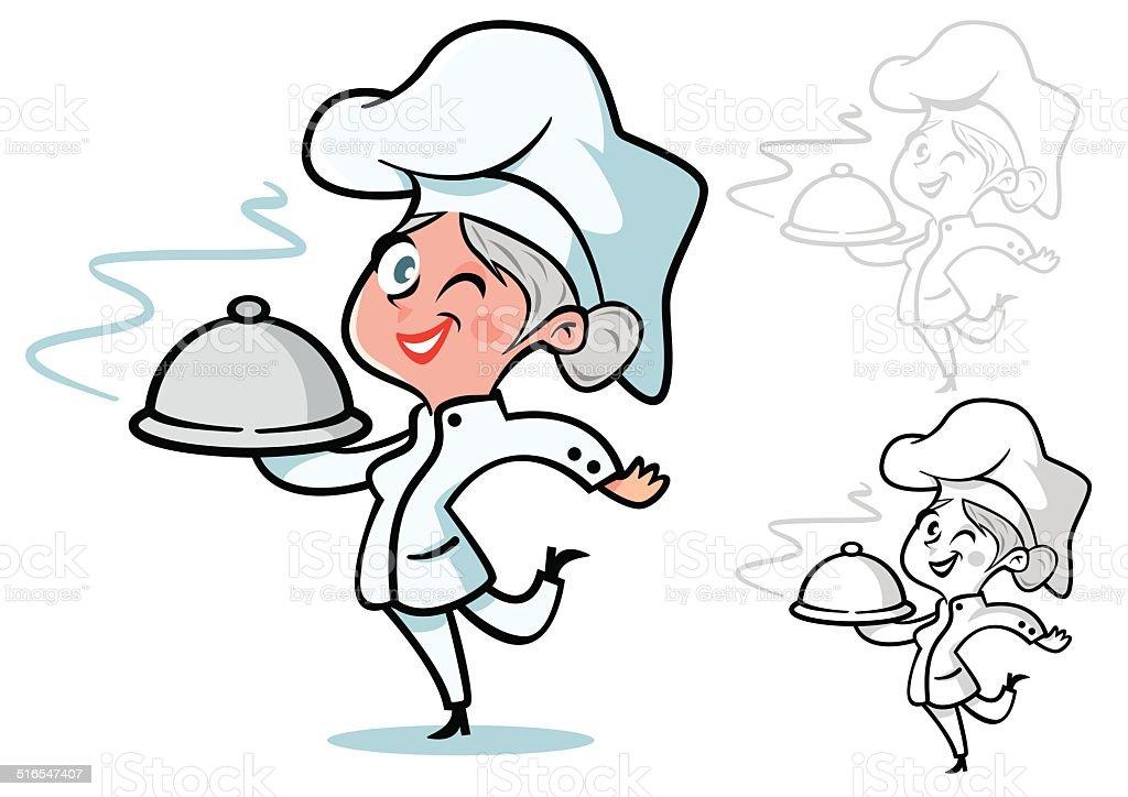 chef mujer con Pelo gris - ilustración de arte vectorial