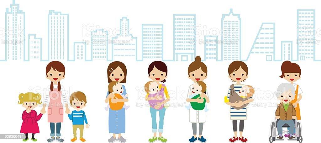 雌託児サービスや介護者-街の背景 ベクターアートイラスト