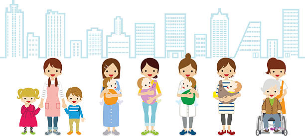 female child care and caregiver - cityscape background - babysitter stock illustrations, clip art, cartoons, & icons