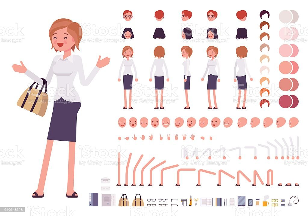 Female clerk character creation set vector art illustration