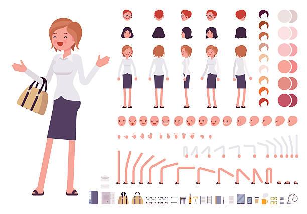 Female clerk character creation set - Illustration vectorielle