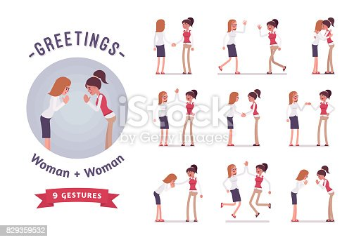 Female clerks greeting, handshaking, giving high five. Ready-to-use character set. Various poses, emotions, standing, fist bump, bow, hug. Full length, front, rear view isolated, white background