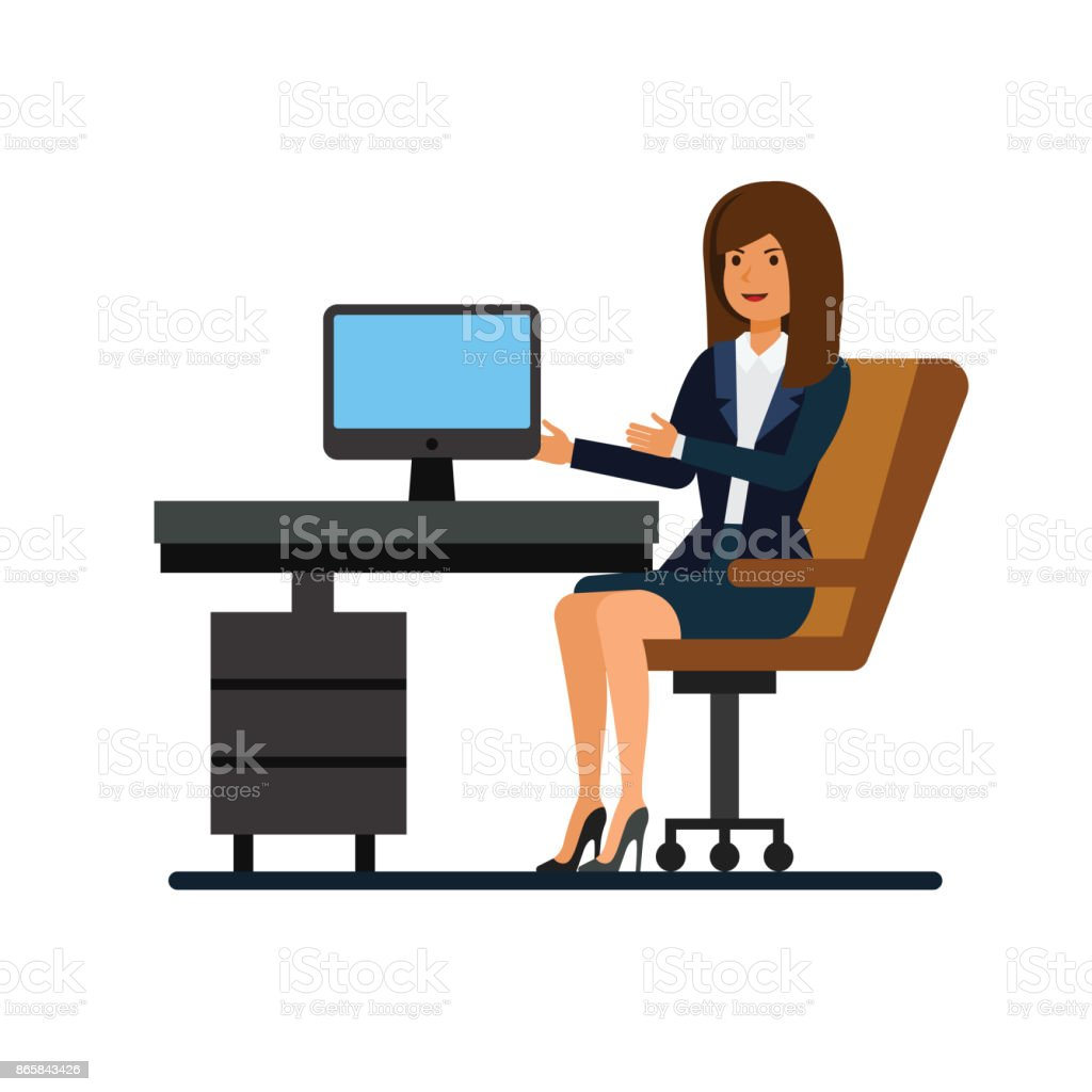 female client support working at office cartoon flat illustration concept on isolated vector. Black Bedroom Furniture Sets. Home Design Ideas