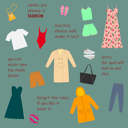 Female clothes and shoes collection. Quotes about fashion.