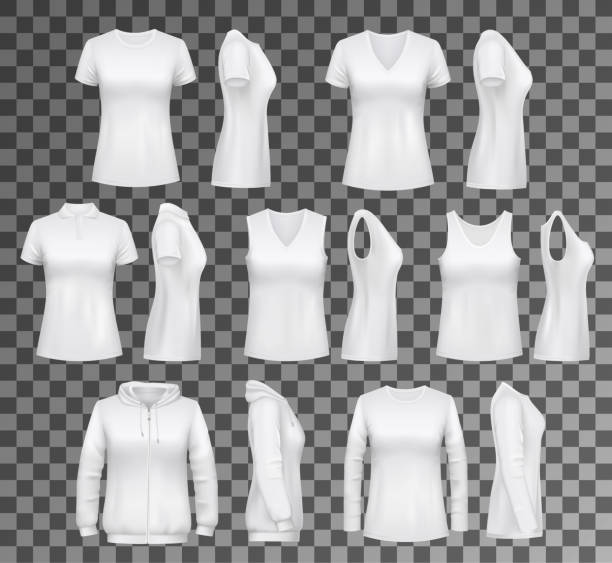 Female clothes T-shirt, hoodie and women underwear T-shirt templates with hoodie and sweatshirt, polo and singlet or sleeveless shirt. Isolated vector female clothes white mockups, casual garments design. Everyday women outfit elements on transparent tank top stock illustrations