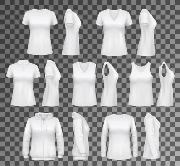 stockillustraties, clipart, cartoons en iconen met vrouwelijke kleding t-shirt, hoodie en vrouwen ondergoed - sportkleding