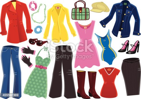 Seventeen different and isolated female clothing items and accessories. Included are; red coat, jewellery, yellow blouse, small handbag, wool hat, denim jacket, black shoes, blue swimming costume, pink dress, brown sunglasses, blue jeans, woolen gloves, grey trousers, brown leather boots, red t-shirt and a grey pencil skirt.
