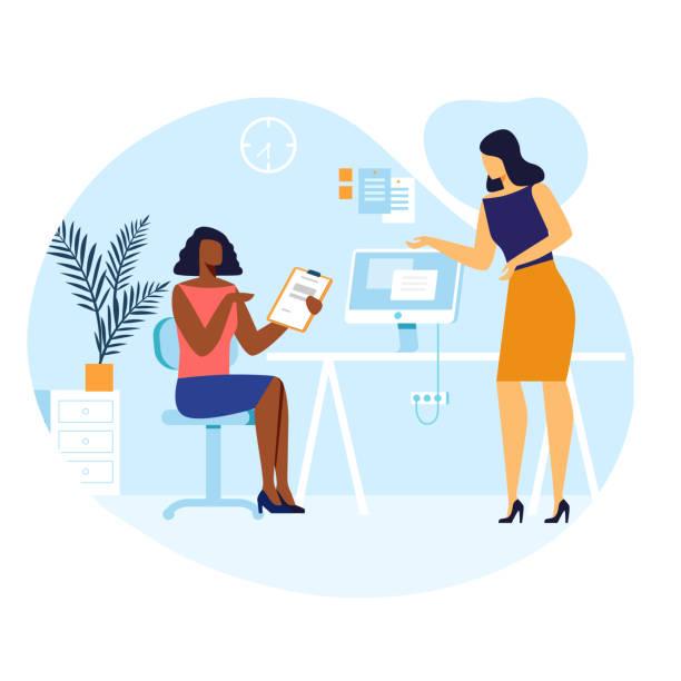 Female Colleagues Conversation Vector Illustration