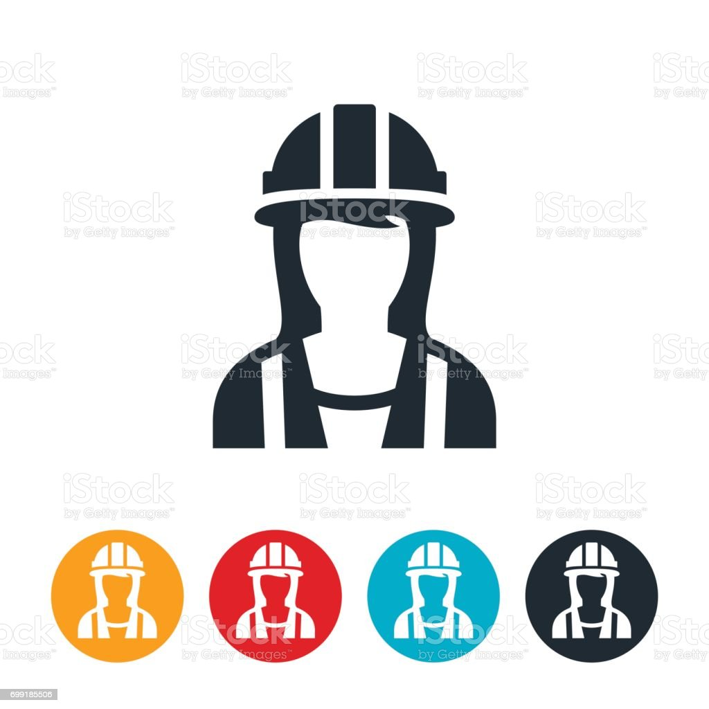 Female Construction Worker Icon vector art illustration