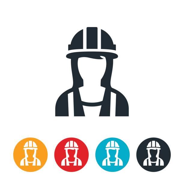 female construction worker-symbol - bauarbeiter stock-grafiken, -clipart, -cartoons und -symbole