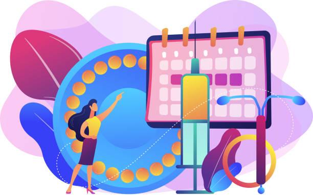 illustrazioni stock, clip art, cartoni animati e icone di tendenza di female contraceptives concept vector illustration. - contraccettivo