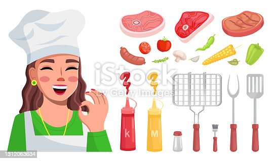 istock Female cook shows ok, meat, spices, side dish, grill mesh, kitchen appliances. Food Blog. Flat image 1312063634