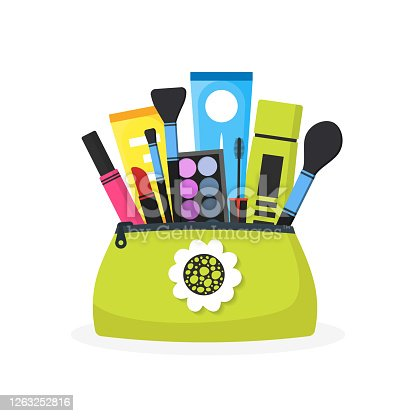 Female cosmetic bag. Modern flat design of girl's things. Female objects. Eye shadow, brushes, skin care cream, lipstick. Vector illustration isolated on white.