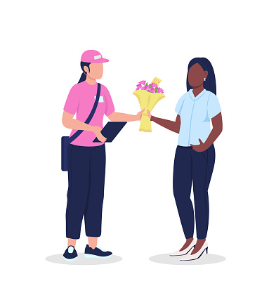 Female courier and customer with flowers flat color vector faceless character