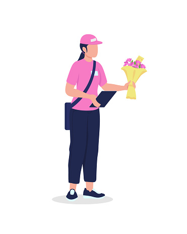 Female courier in uniform with bouquet flat color vector detailed character