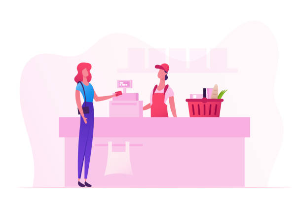 ilustrações de stock, clip art, desenhos animados e ícones de female customer character with goods in shopping basket stand in supermarket or grocery queue at cashier desk with seller paying for purchases. sale, consumerism cartoon flat vector illustration - supermarket worker