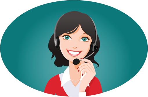 Female customer service representative smiling