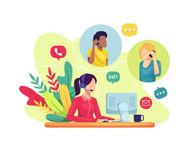 ilustrações, clipart, desenhos animados e ícones de funcionária de atendimento ao cliente ajudando clientes - dia do cliente