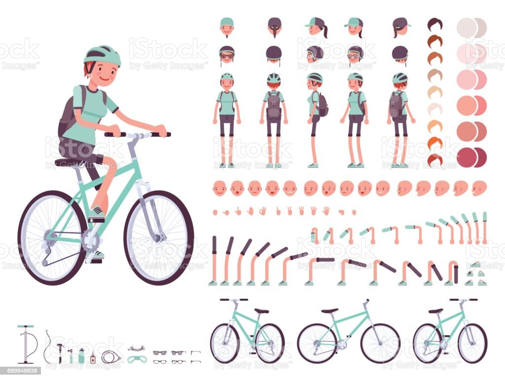 Female cyclist character creation set vector art illustration
