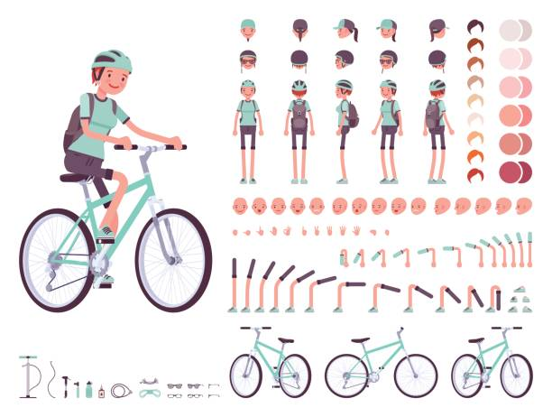 Female cyclist character creation set vector art illustration