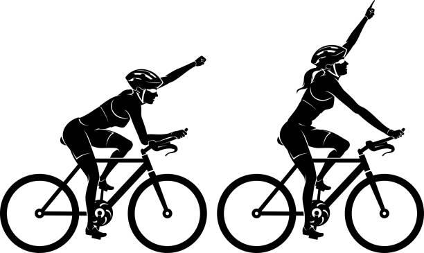 Female Cyclist Racer Win vector art illustration