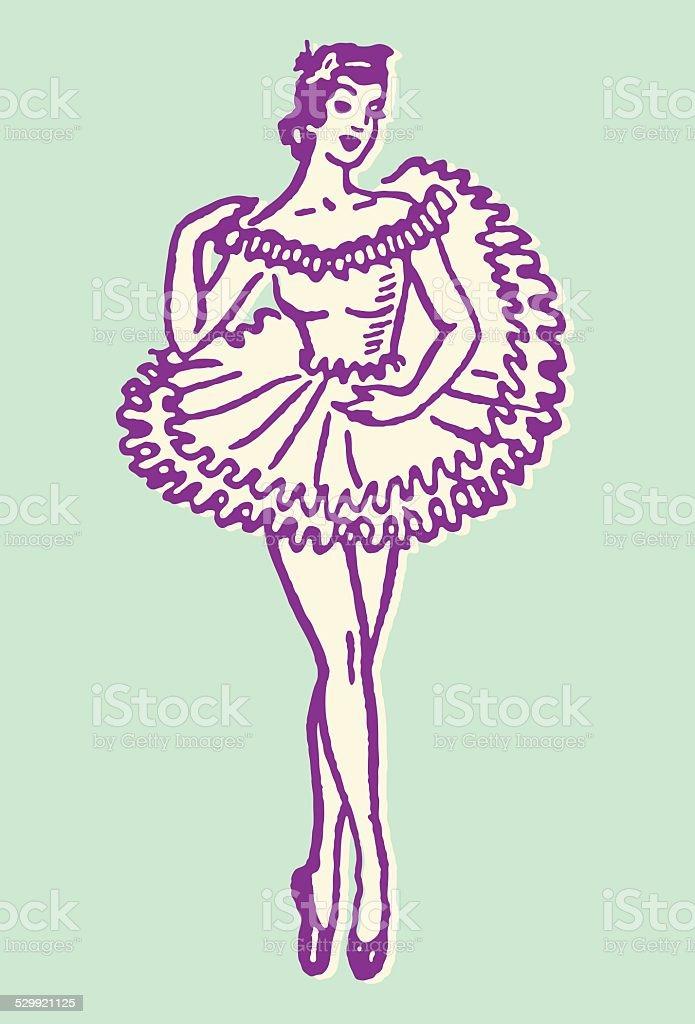 Female Dancer En Pointe vector art illustration