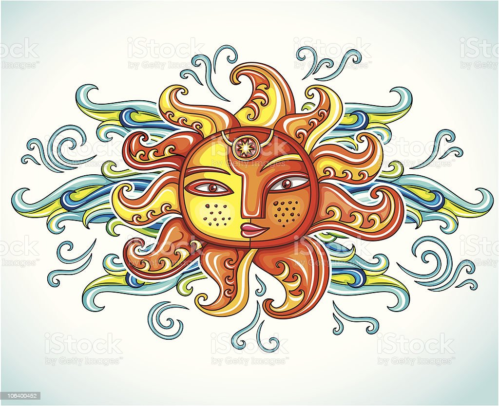 Female decorative sun royalty-free female decorative sun stock vector art & more images of abstract