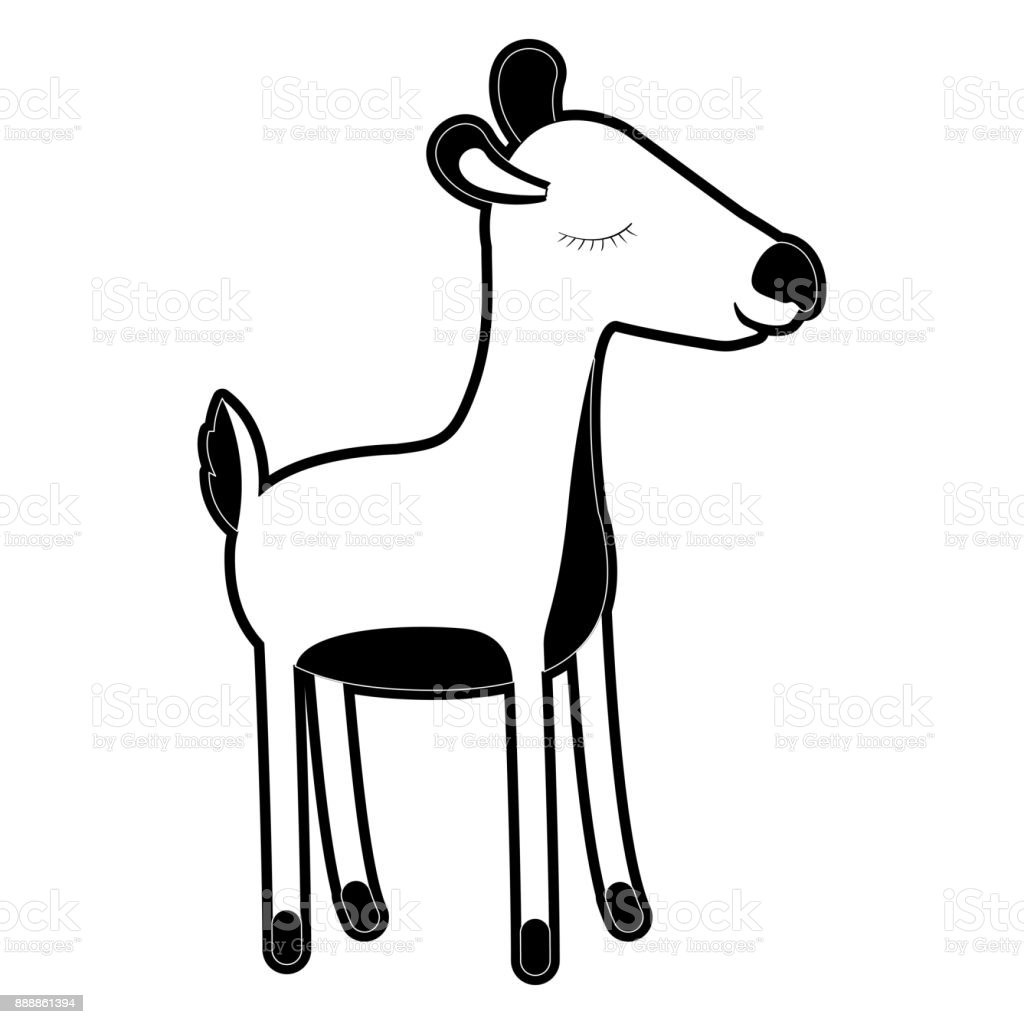 Female Deer Cartoon With Closed Eyes Expression In Black