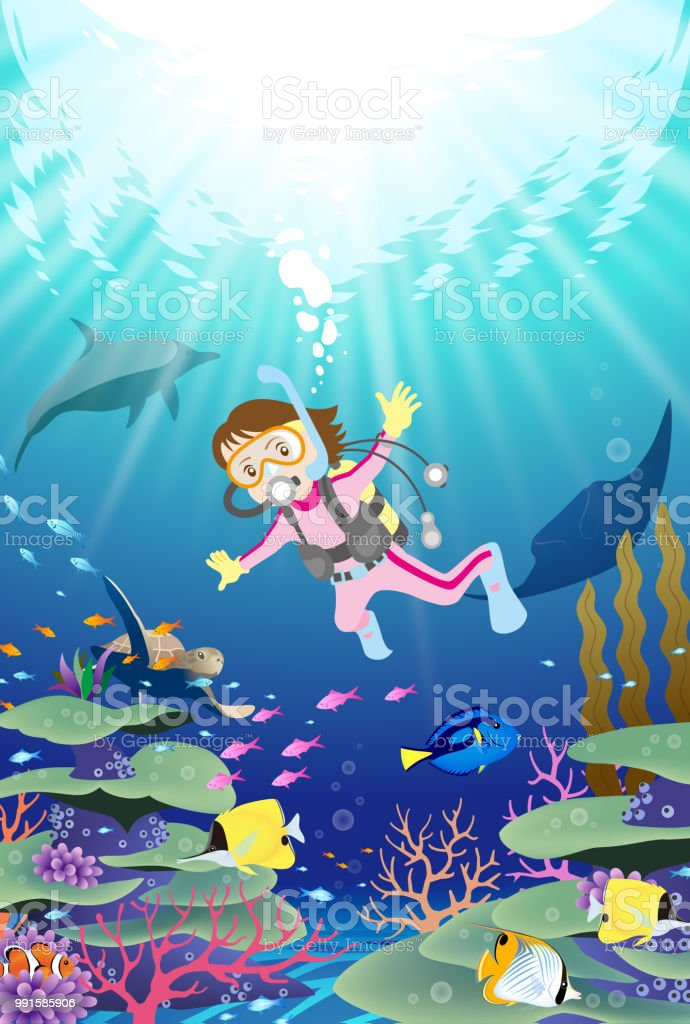 Female diver scuba diving underwater near the coral reef with tropical fish vector art illustration