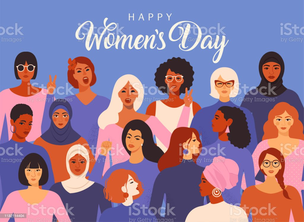 Female diverse faces of different ethnicity poster. Women empowerment movement pattern. International women's day graphic vector. - Royalty-free Adulto arte vetorial